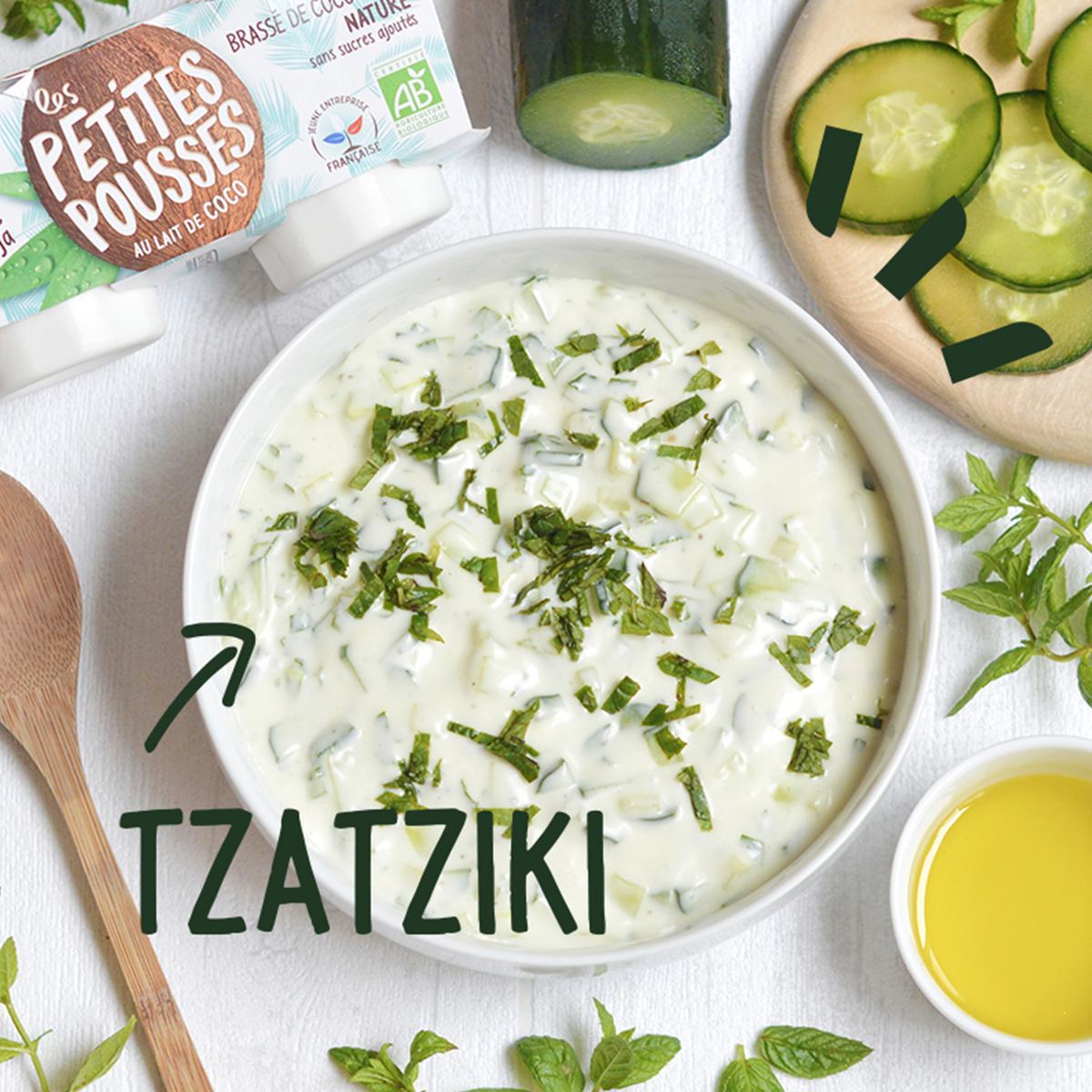 Recette tzatziki Coco vegan au brassé végétal bio