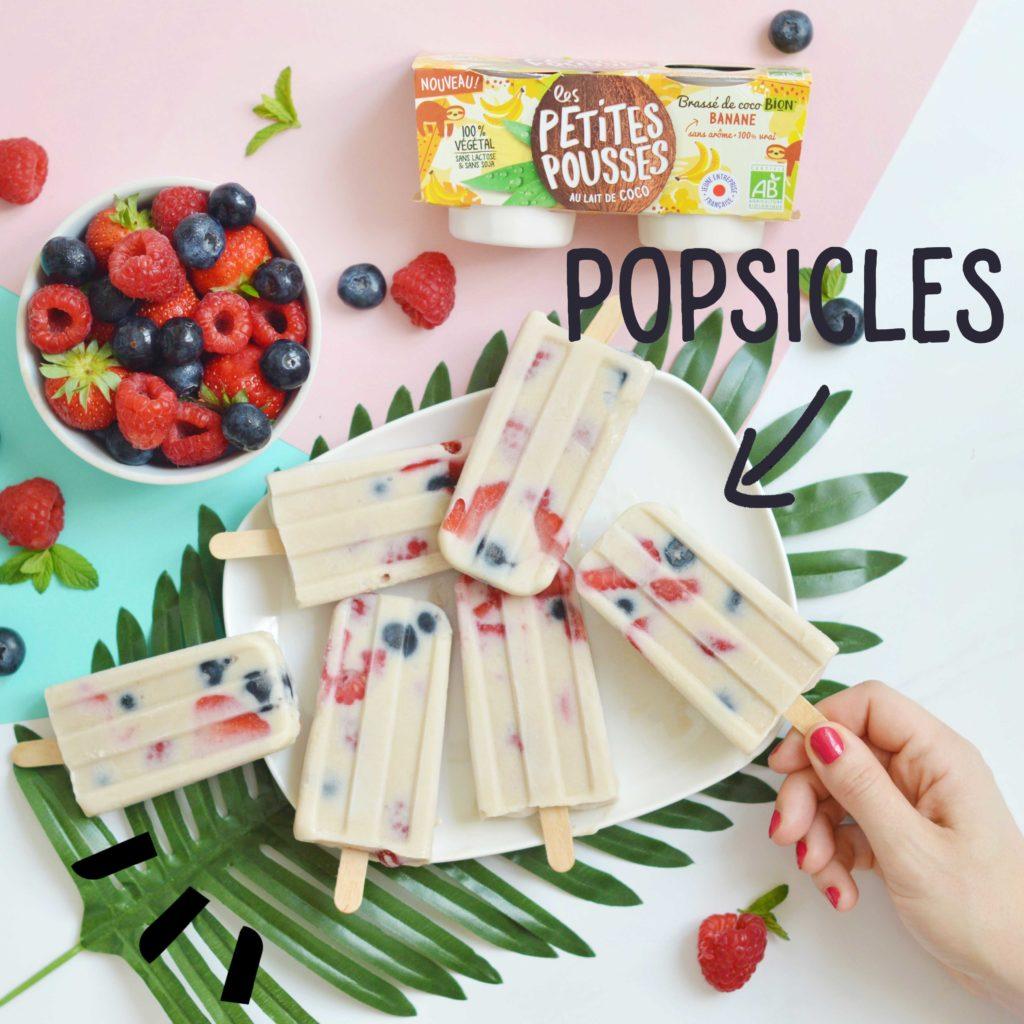 Recette popsicles coco banane 100% végétale bio