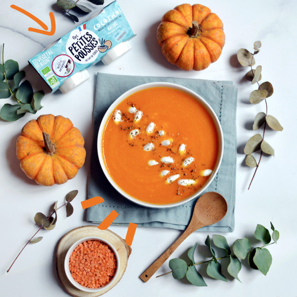 recette soupe potimarron, lentilles corail & coco