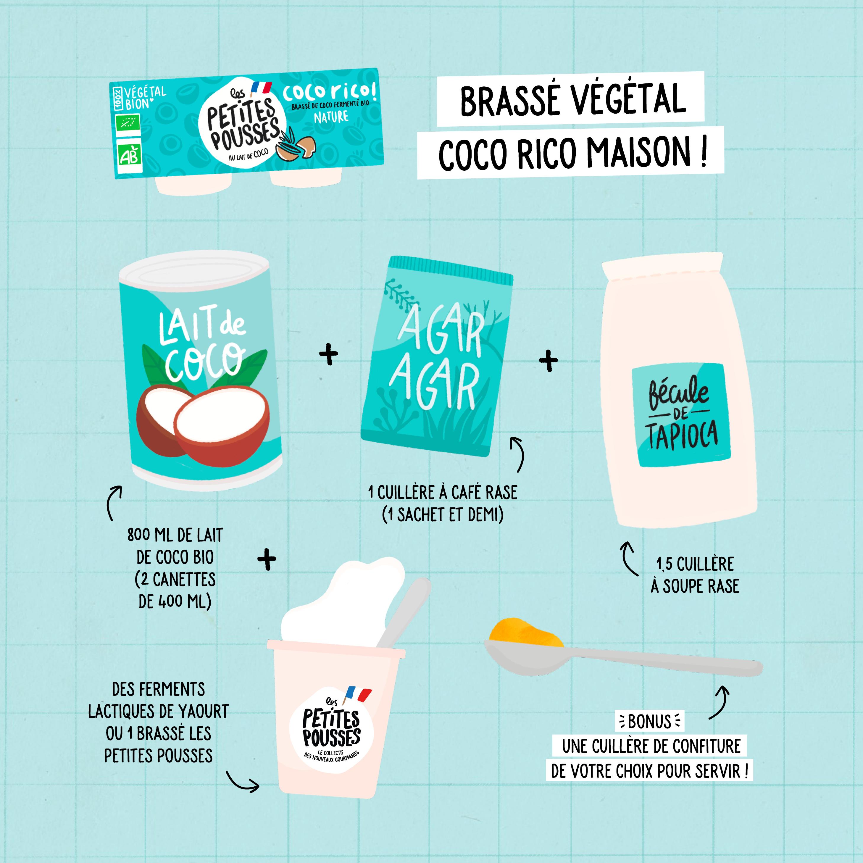 Ingrédients brassé végétal lait de coco