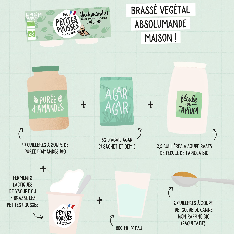 Ingrédients brassé végétal lait d'amande